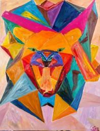 Brüllender Löwe abstrakt
