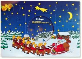 Schoko-Adventskalender mit Weihnachts-CD Werbeartikel