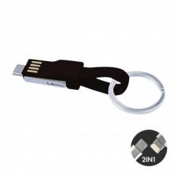 3-in-1 Mini Kabel USB Kabel mit Micro-USB, Lightning und Typ C-Anschluss, schwarz Wunsiedel