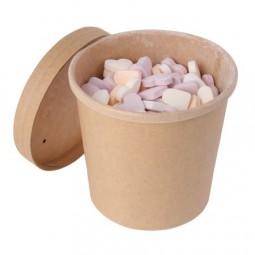 Bonbontopf Kraftkarton mit Deckel 360 ml, gefüllt mit ca. 260 gr. DutchDex Herzen mit natürlichen Ar