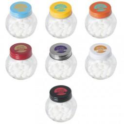 Bonbonglas mini gefüllt mit ca. 40 gr. Mints mit farbigem Deckel Werbeartikel Trochtelfingen