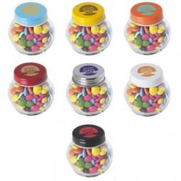 Bonbonglas mini gefüllt mit ca. 40 gr. Schokocarletties mit farbigem Deckel Werbeartikel Kamenz