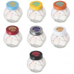 Bonbonglas mini gefüllt mit ca. 40 gr. Herzbonbons mit farbigem Deckel Werbeartikel Bad Lobenstein