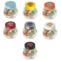 Bonbonglas mini gefüllt mit ca. 40 gr. Jelly Beans mit farbigem Deckel Werbeartikel Neuenrade