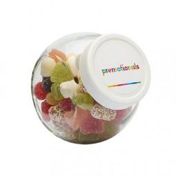 Bonbonglas 395 ml weissem Kunststoff Deckel gefüllt mit Bonbons Kategorie BASIS Werbeartikel Stadtle