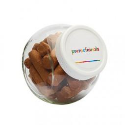 Bonbonglas 395 ml weissem Kunststoff Deckel gefüllt mit Bonbons Kategorie SPEZIELL Werbeartikel Rüss