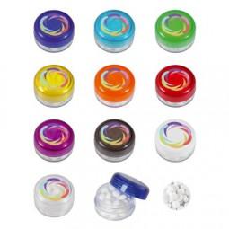 Runde Plastikdose mit farbigem Deckel gefüllt mit ca. 12 gr. DutchDex Dextrose Minties DIGITALDRUCK
