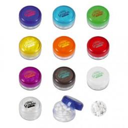 Runde Plastikdose mit farbigem Deckel gefüllt mit ca. 12 gr. DutchDex Dextrose Minties TAMPONDRUCK W