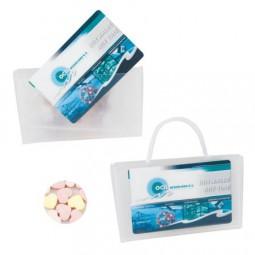 Mini Tasche transparent gefüllt mit 50 gr. Herzbonbons UNBEDRUCKT Werbeartikel Schleswig