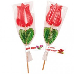 Lutscher in tulpenform mit Etikett Werbeartikel Döbeln